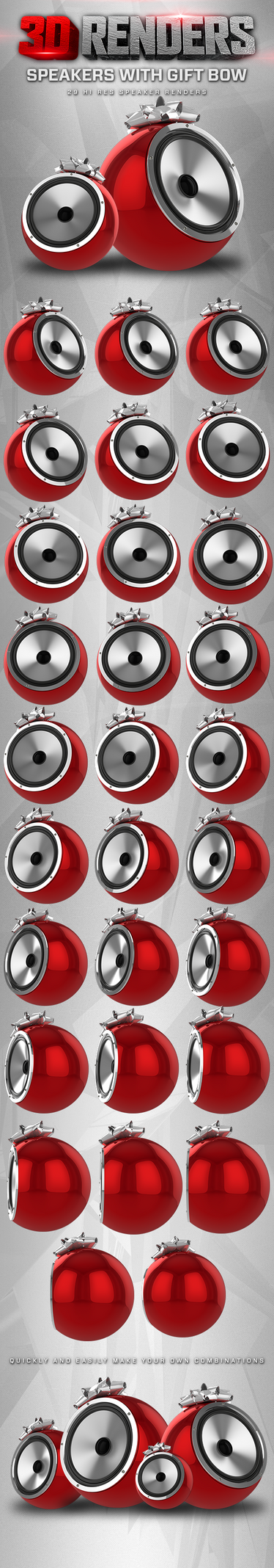 3D Render - Speakers With Gift Bow by DesignFathoms
