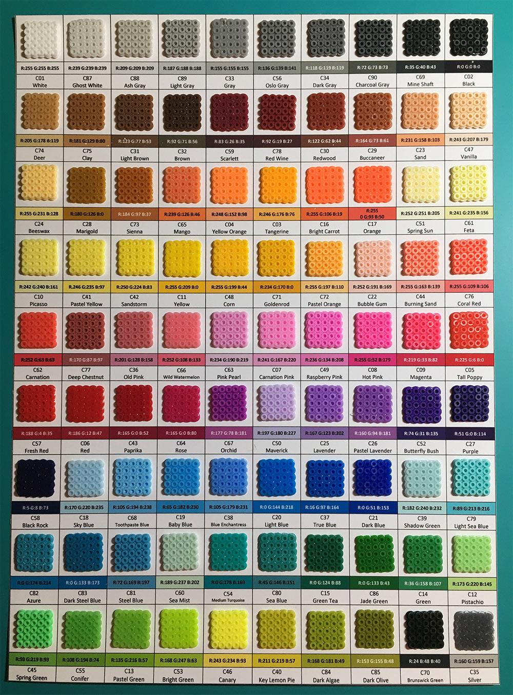 Artkal Mini Fuse Beads Color Chart by JanKov on DeviantArt