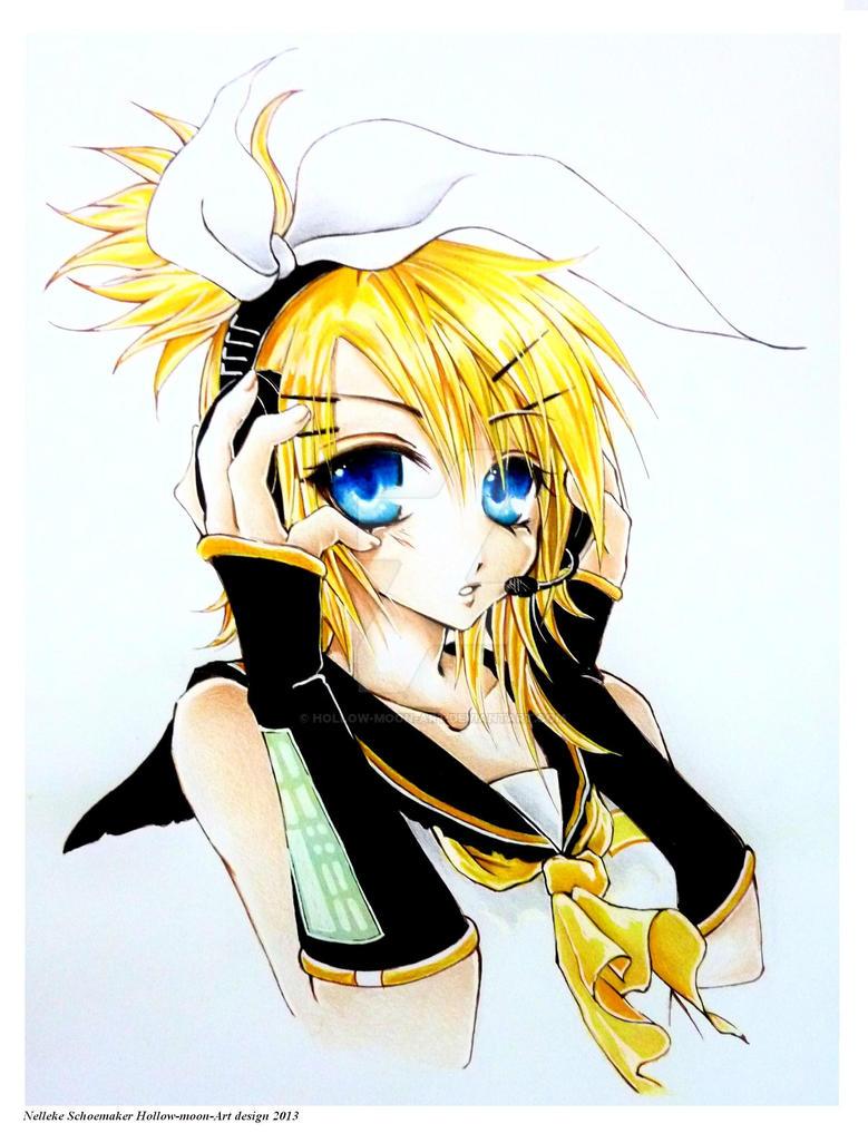 Vocaloid Rin Kagamine illustration by Hollow-Moon-Art