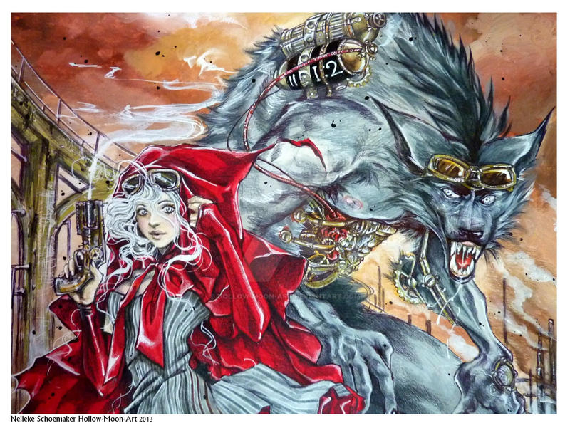 Red riding Hood and Wolf close up by Hollow-Moon-Art