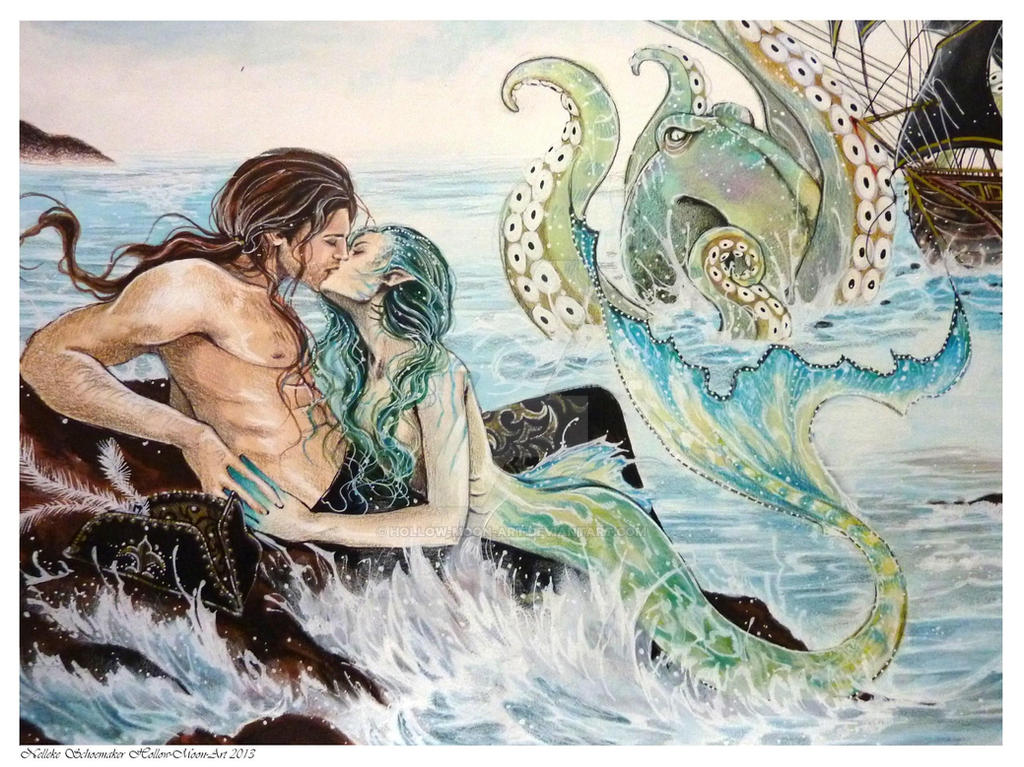 The Little Mermaid - A Mermaids Kiss CLOSE UP by Hollow-Moon-Art