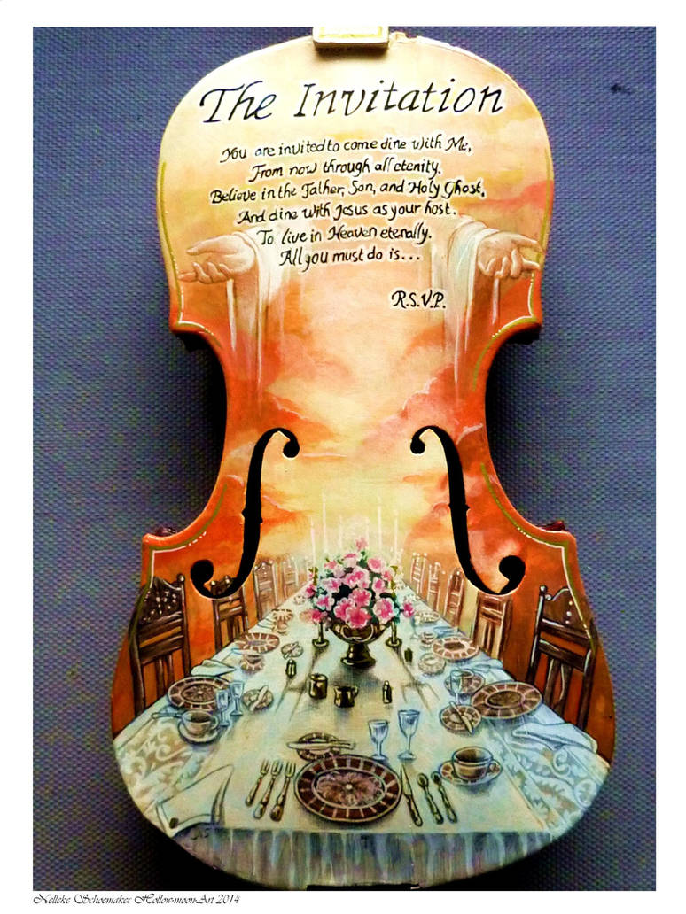 Religious Violin handpainted by Hollow-Moon-Art