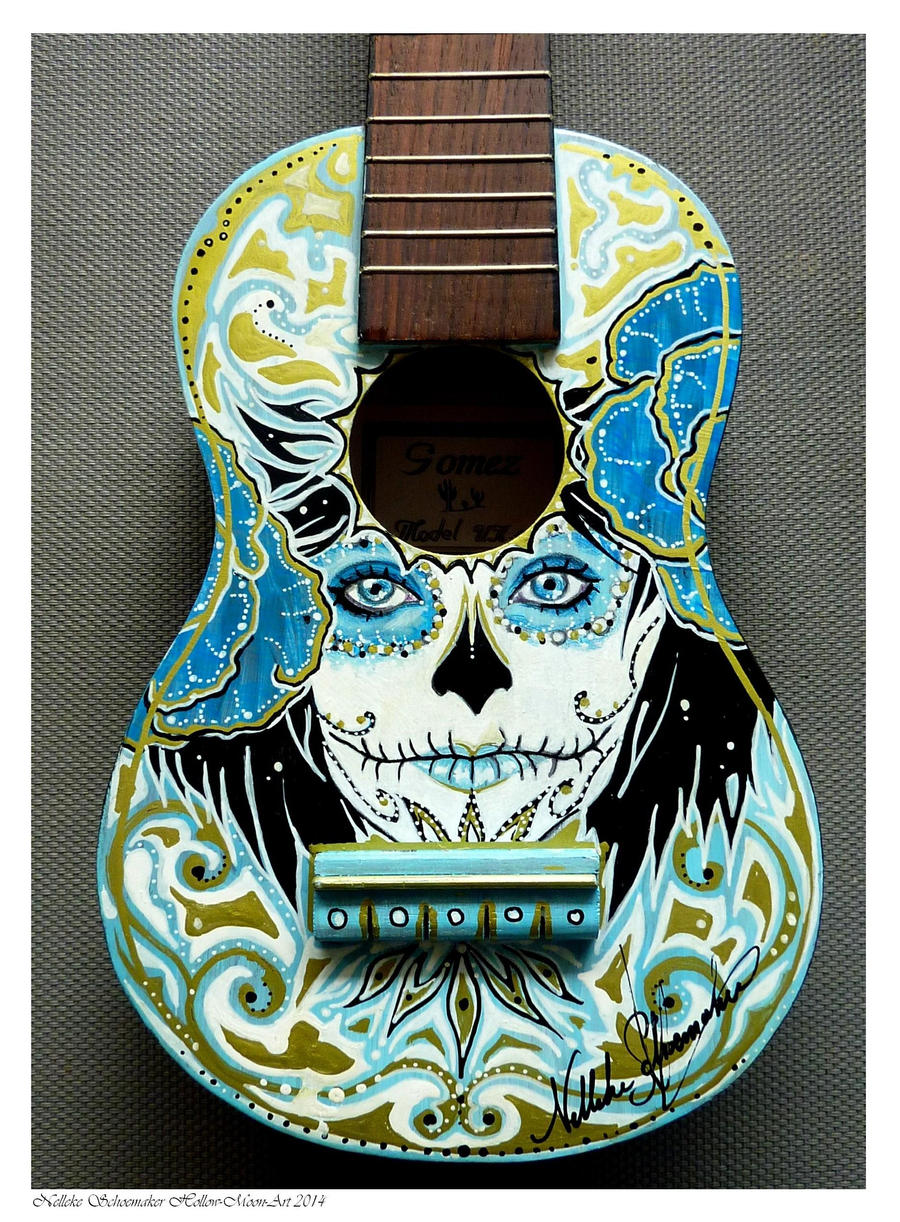 Handpainted Ukelele Day of the dead SOLD by Hollow-Moon-Art