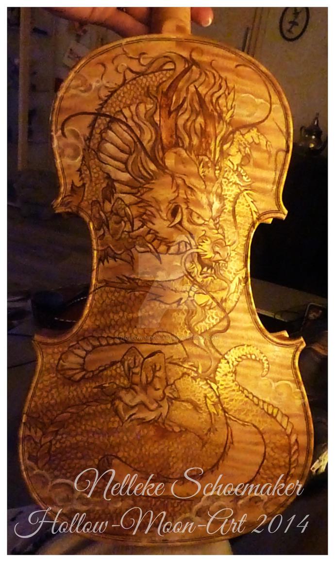Dragon violin design gold by Hollow-Moon-Art