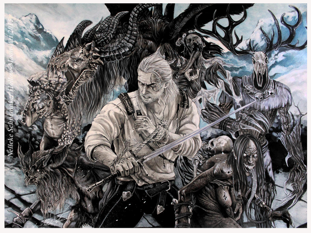 Witcher Wild Hunt - Slayer of monsters by Hollow-Moon-Art