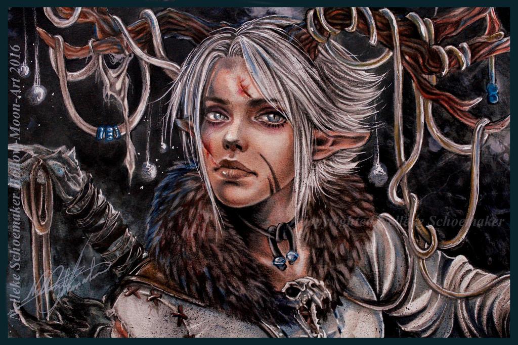 Wood Elf - Close up - Concept art 2 by Hollow-Moon-Art
