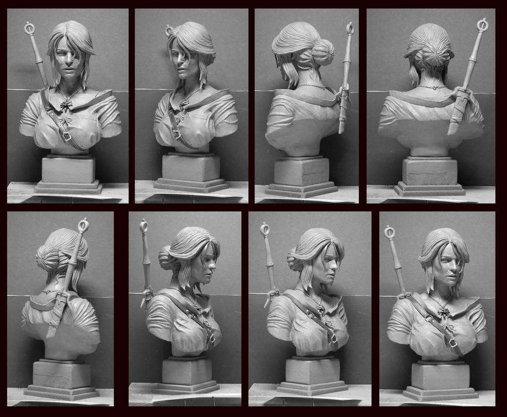 Wicher 3 Ciri portrait bust by Leebea