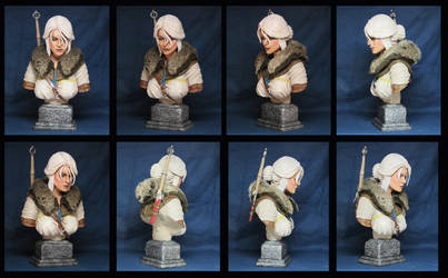 Witcher 3 Wild Hunt Ciri Bust with fur collar by Leebea
