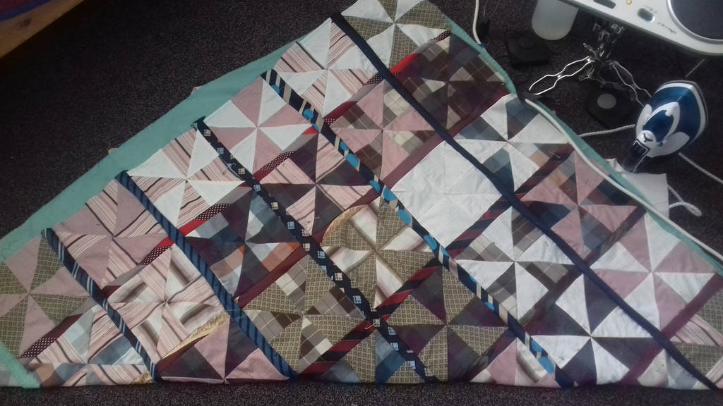 WIP shirt and tie quilt by BellaGBear
