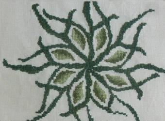 Green leaves cross stitch by BellaGBear