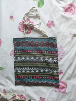 Colourful upcycle tote bag