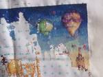 Hot air balloons cross stitch WIP2