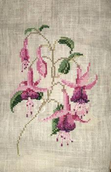 Fuchsia flower embroidery