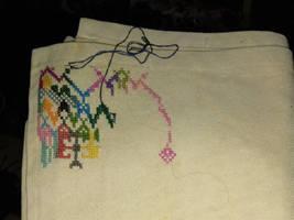 The Templar Prophecy cross stitch WIP.