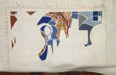 Shards of Fire dragon cross stitch WIP 4