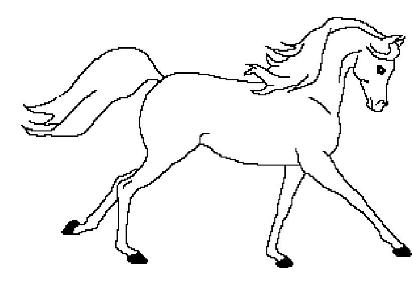 Line art arabian horse by skyeblackwolf on deviantart for Black and white horse coloring pages