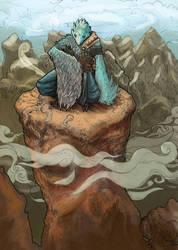 Karasu Tengu on the cliff (wip 1 colors)