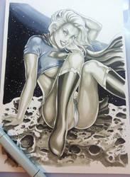 Great Supergirl Drawing on meteoroid