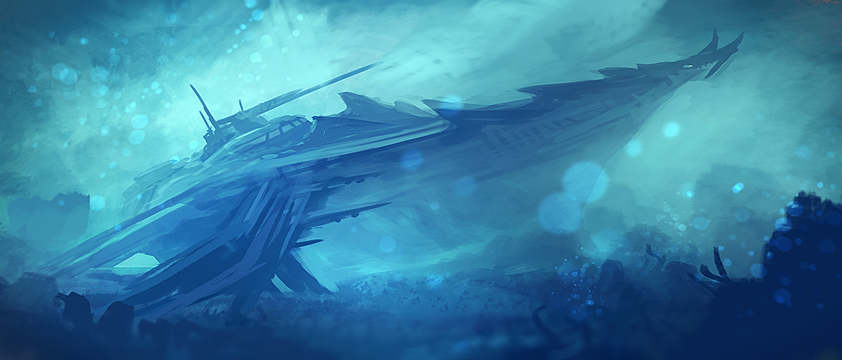 underwater ship/ sketch by xpe