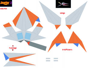 Starfox 2 Wolfen Papercraft