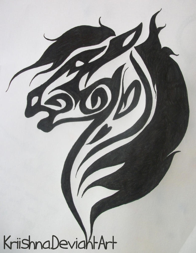 It is a photo of Gargantuan Tribal Horse Drawing