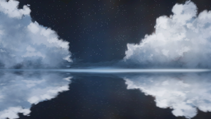 Night clouds and sea surface