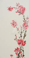 almond blossoms, watercolor