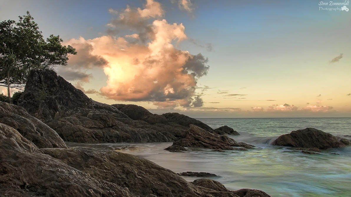 Sunset At Etty Bay Watermarked by djzontheball