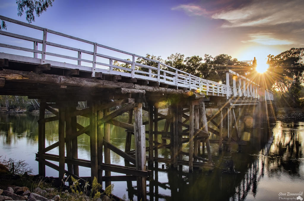 Cobram Barooga Bridge At Sunrise by djzontheball