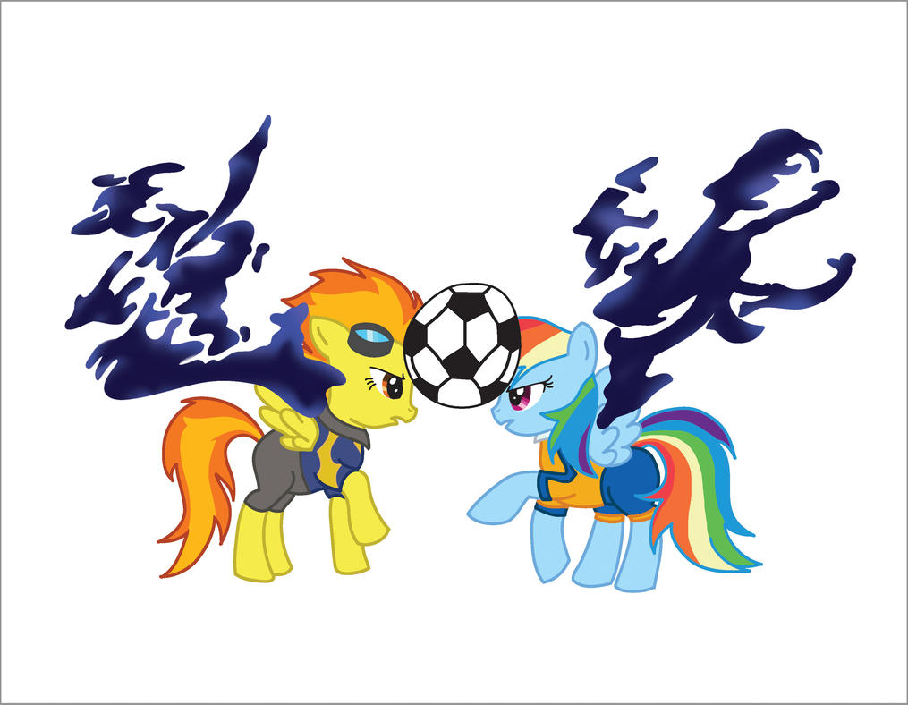 Pony Eleven Go: Rainbow Dash VS Spitfire by MariWii