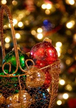Ornaments in a Golden Basket