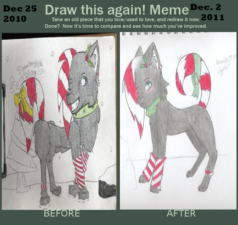 Before and after meme christmas wolf by ladyicebreeze