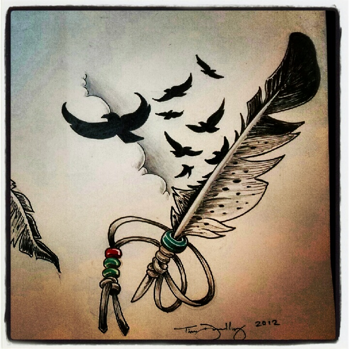 feather study tattoo flash by sgtpixel on deviantart. Black Bedroom Furniture Sets. Home Design Ideas