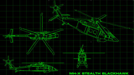MH-X Stealth Blackhawk Concept Technical Drawing by Dayanx