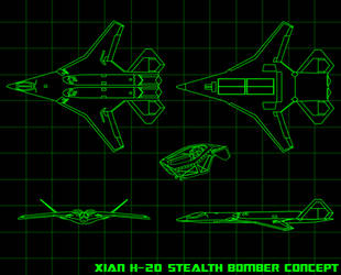 Xian H-20 Strategic Stealth Bomber Concept by Dayanx