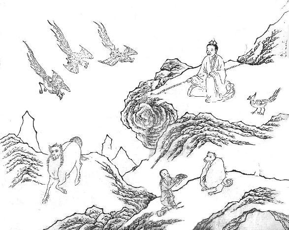 Xiwangmu, Sanqingniao, sanzuniao, quanrong, Jiliang, Plancha LVIII del Shanhaijing