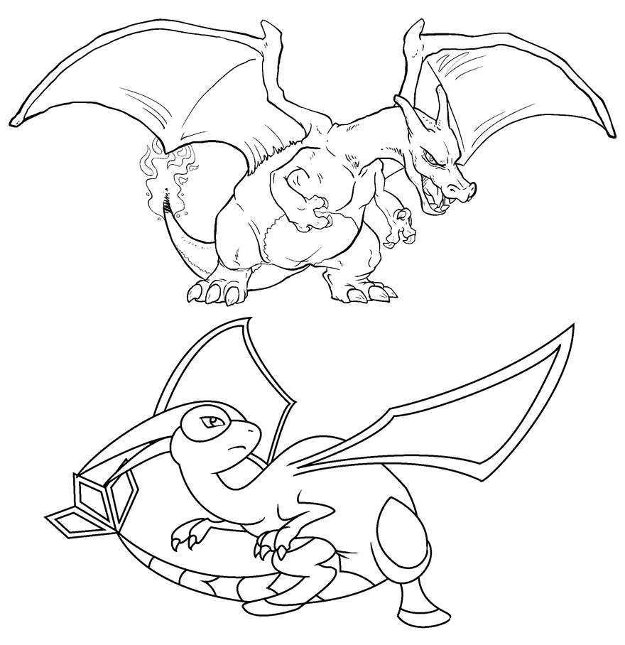 pokemon coloring pages charizard - free charizard and flygon linearts by twarda8 on deviantart