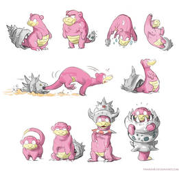 Many Slowbros + Mega Slowbro by Twarda8