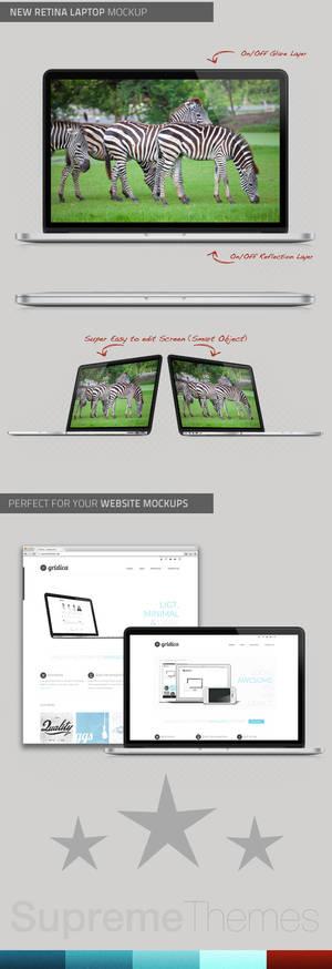 New Macbook Pro with Retina .PSD Mockup