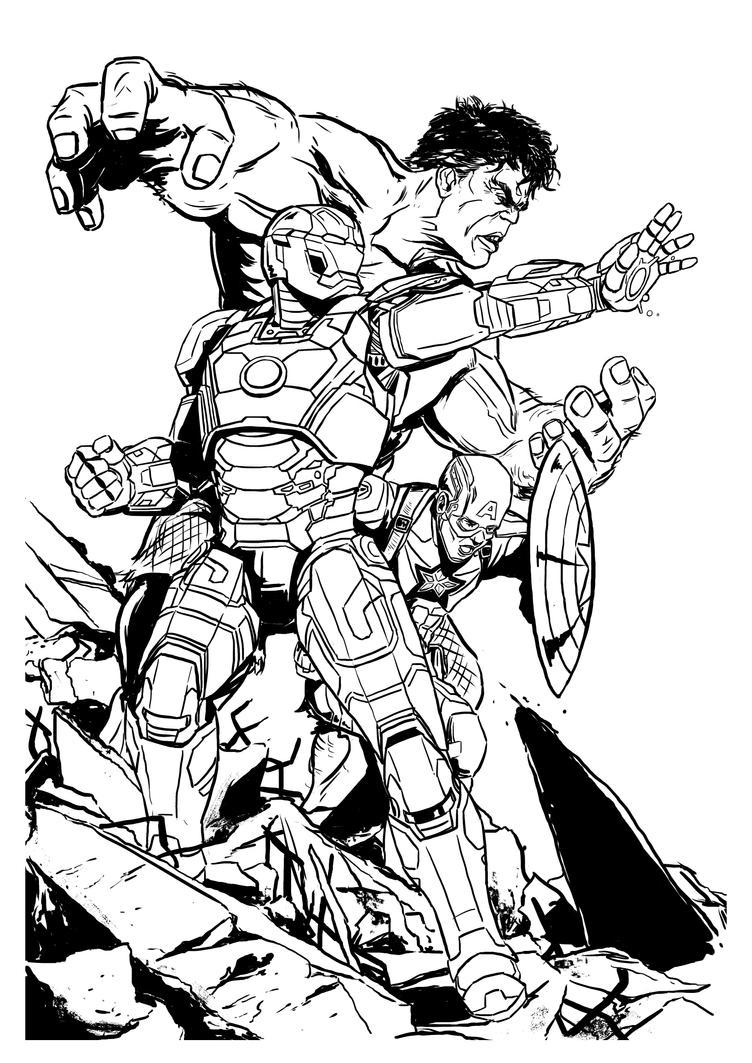 Avengers comission inks by Ben-Wilsonham