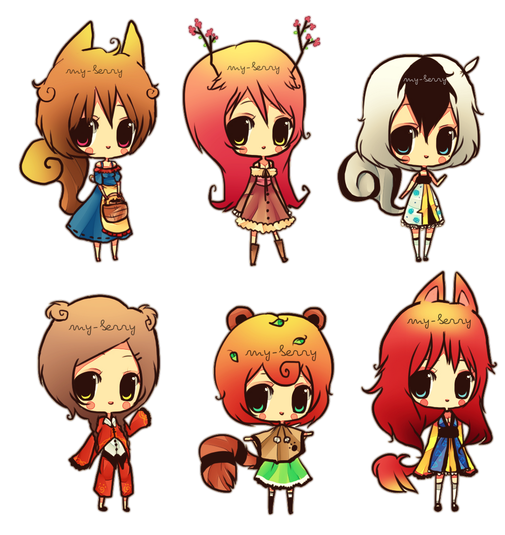 Anime Characters Animals : Forest animals adoptables batch open by my berry on