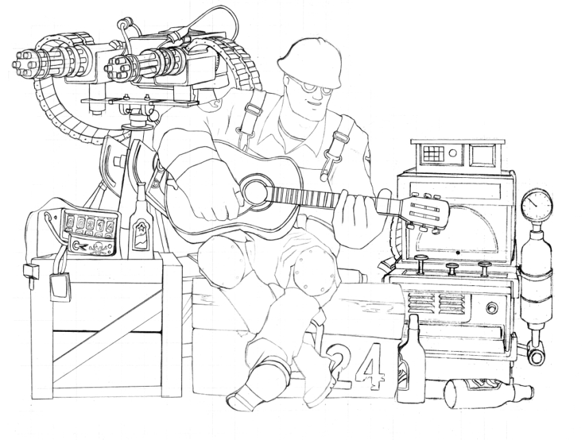 tf2 engineer sketch by neilameane on deviantart
