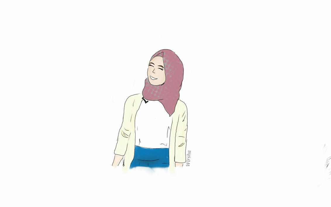 Hijabi Girl- 1st drawing in sketch book pro by Wirsha