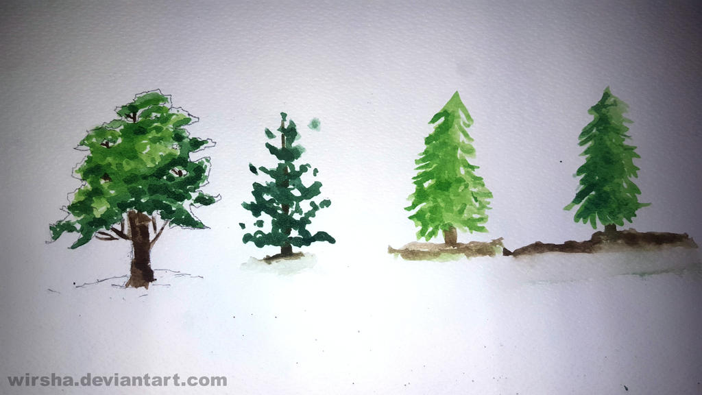 Trees Practice with WaterColor by Wirsha