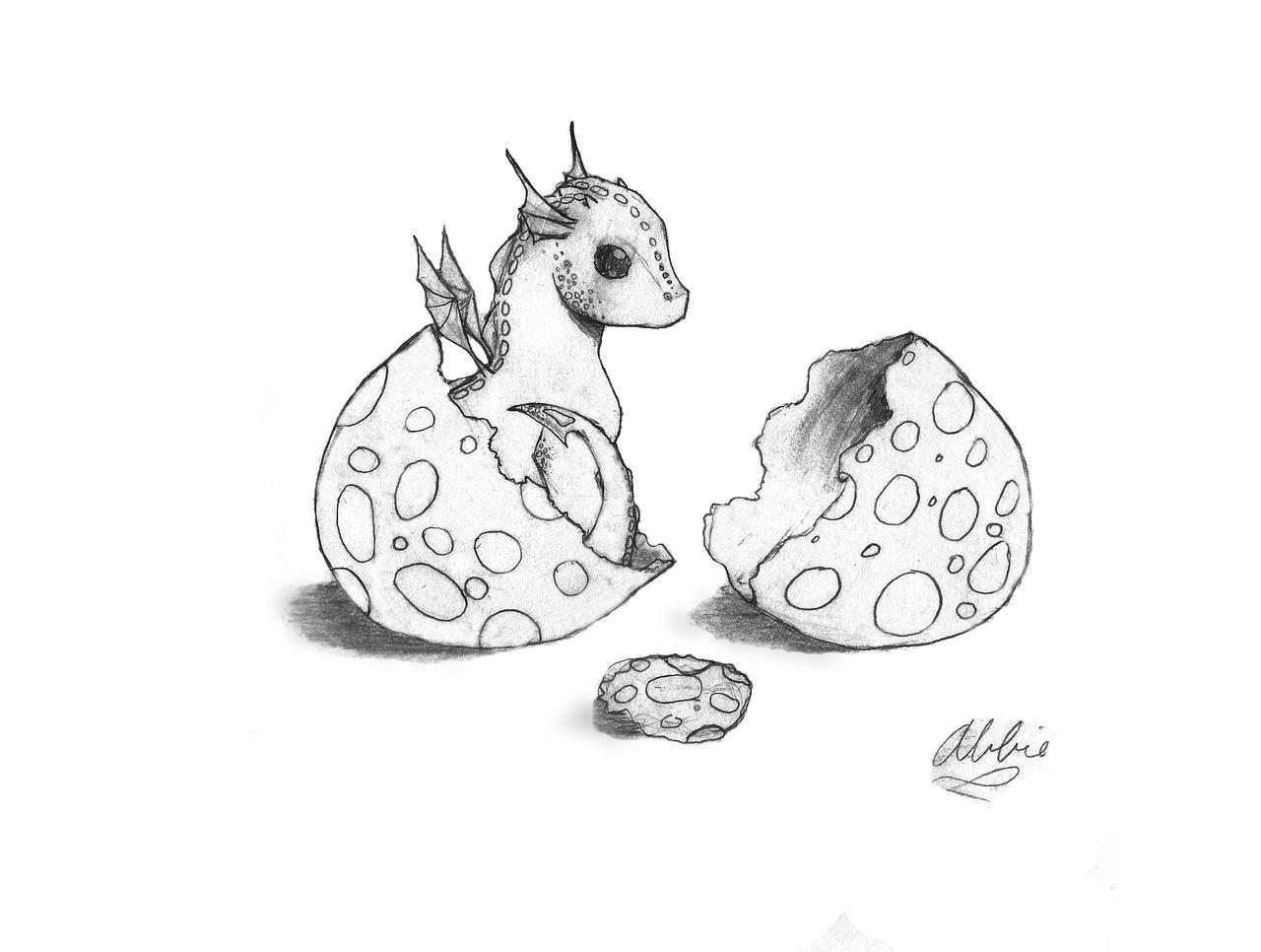Baby Dragon and Egg by Znnai on DeviantArt
