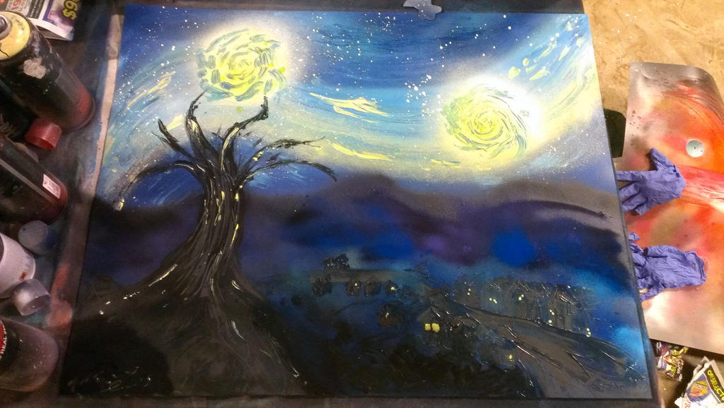 starry night spray paint art by dragonstooth257 on deviantart. Black Bedroom Furniture Sets. Home Design Ideas
