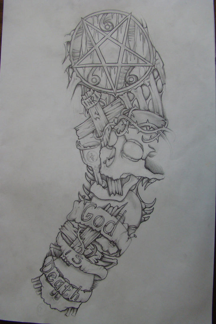 Sleeve drawing done 3 yrs ago by chrismorillo on deviantart for Half sleeve tattoo sketches