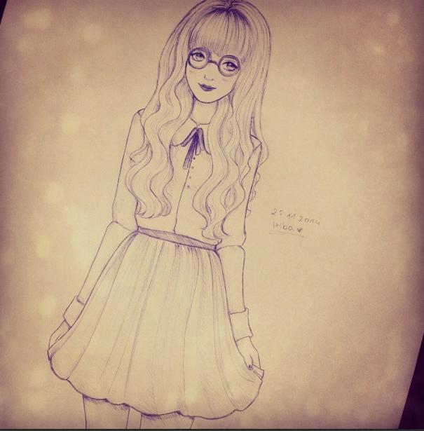 Anime nerd girl drawing