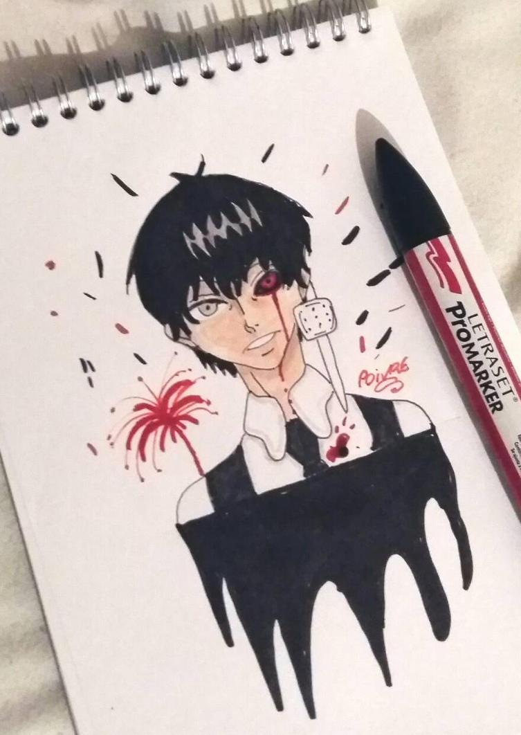 tokyo ghoul kaneki black hair by moondaneka