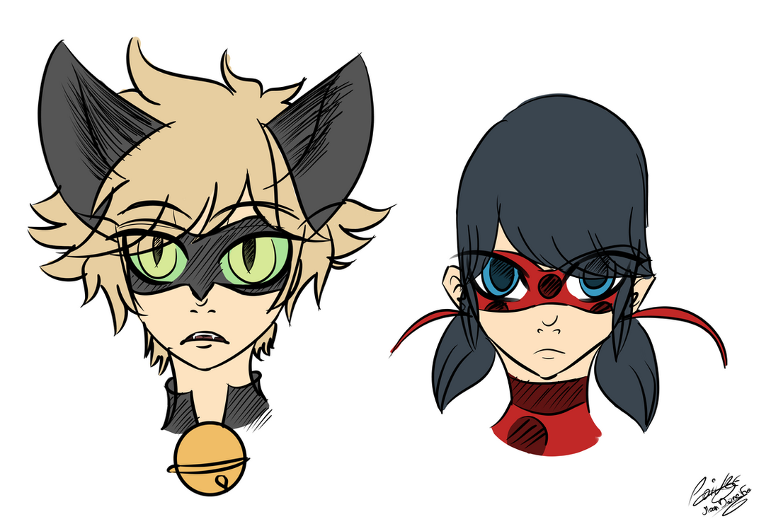Miraculous Ladybug and Chat noir sketch color by moondaneka